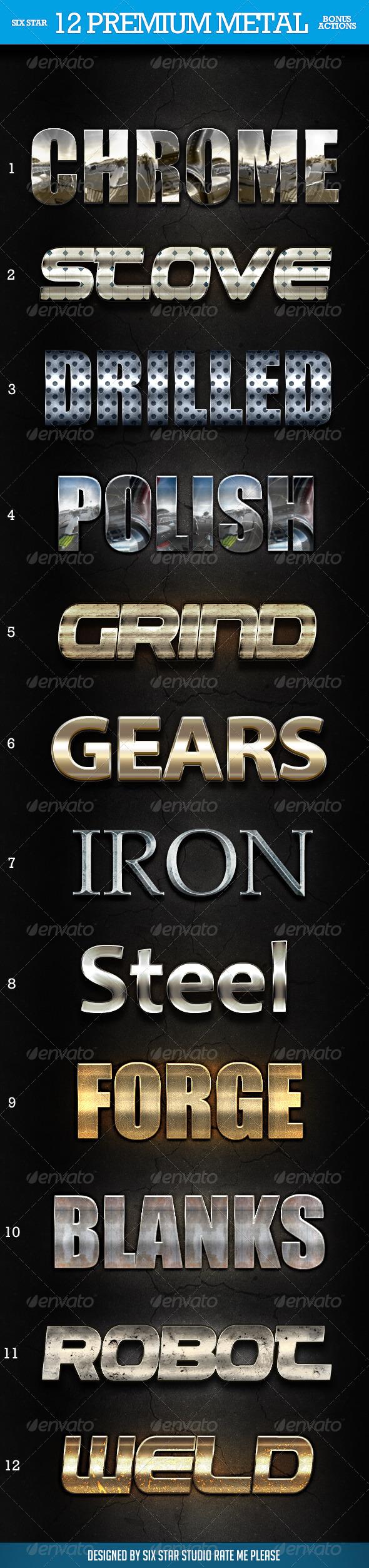 12 Premium Metal Styles - Styles Photoshop