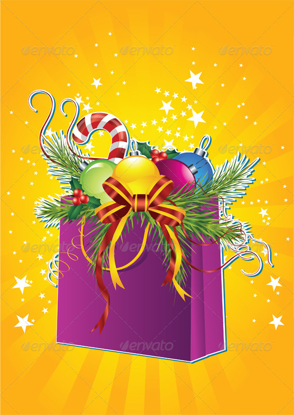 Happy New Year Card with Christmas Gift Bag