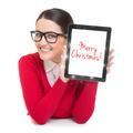 Businesswoman with tablet computer wishing Merry Christmas - PhotoDune Item for Sale