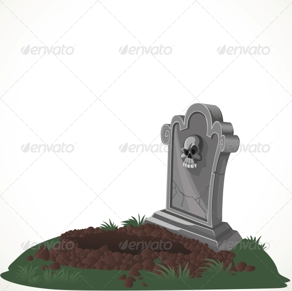 GraphicRiver Halloween Decorations Tombstone and Dug Grave 6442216