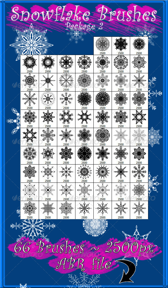 GraphicRiver Snowflake Brushes Pkg 2 6442220