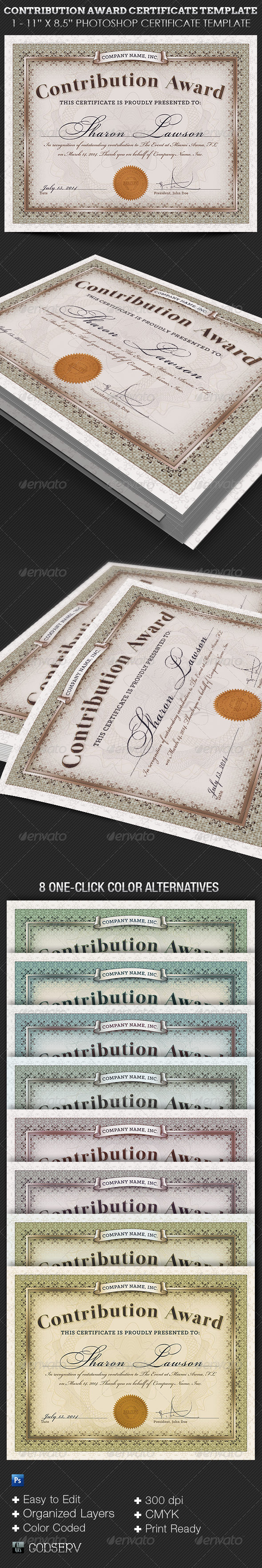 Contribution Award Certificate Template - Certificates Stationery