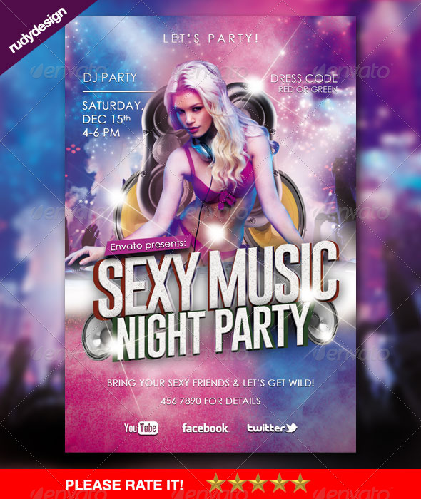 Sexy Music Night Theme Party Flyer