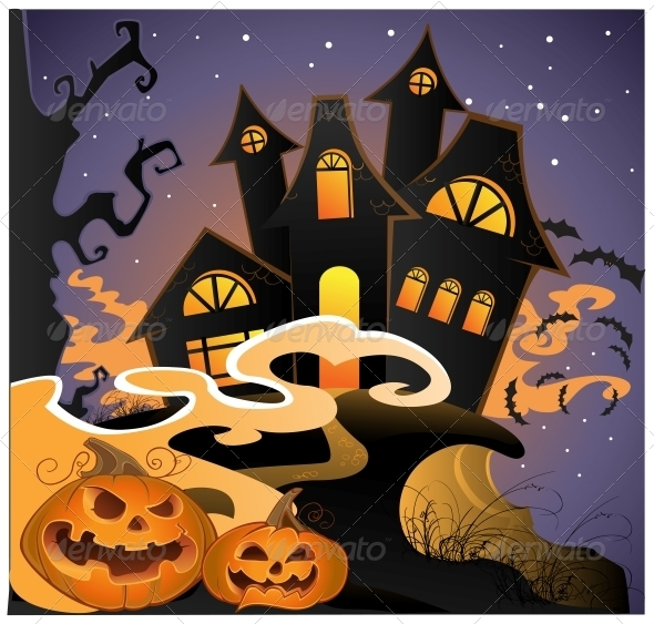 GraphicRiver Halloween Landscape with Pumpkins 6442438