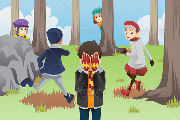 GraphicRiver Kids Playing Hide and Seek 6442443