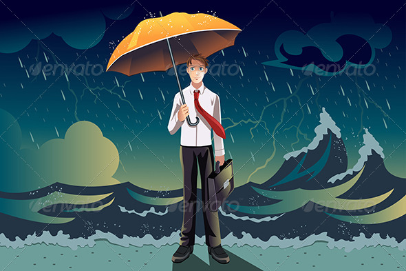 GraphicRiver Businessman in a Storm 6442622