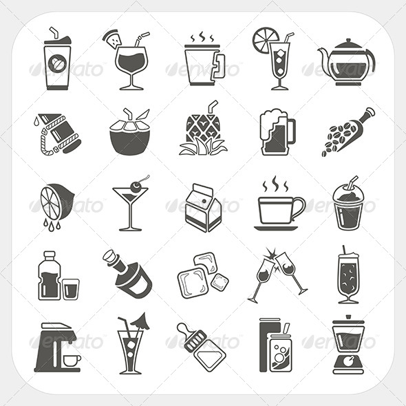 GraphicRiver Beverage Icons Set 6442624