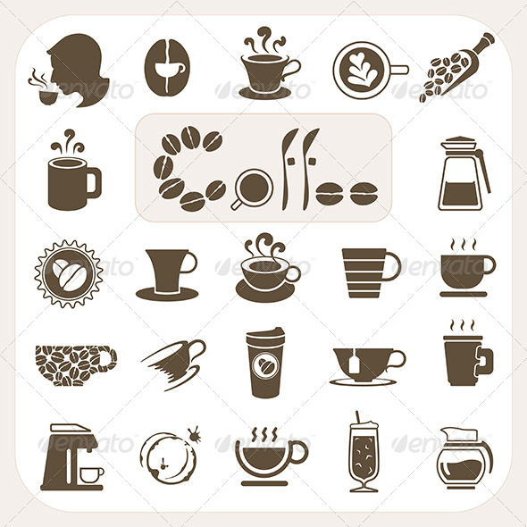 GraphicRiver Coffee Collection Icons Set 6442629