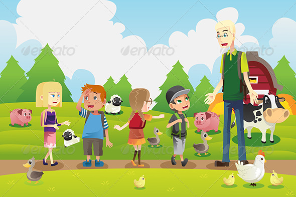 Kids on a Field Trip to a Farm