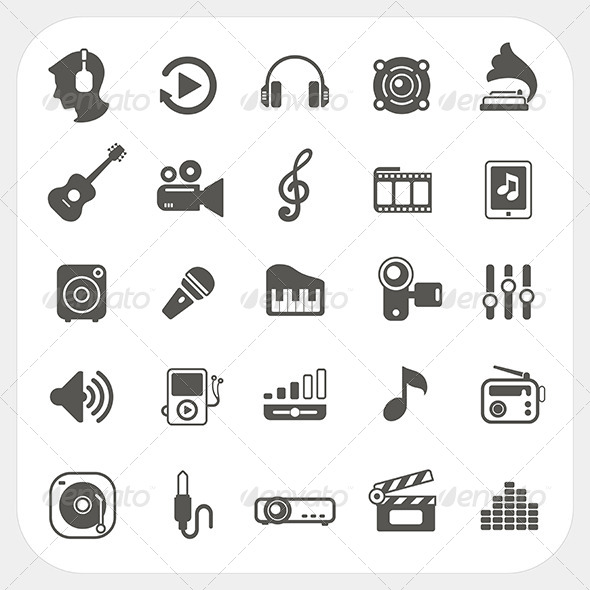 GraphicRiver Music Icons Set 6442634