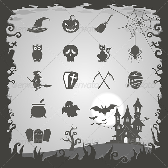 GraphicRiver Halloween Icons with Halloween Background 6442664