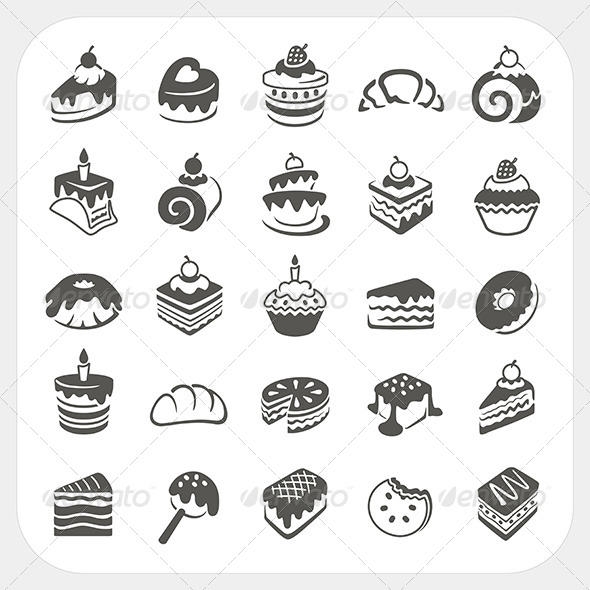 GraphicRiver Cakes and Dessert Icons Set 6442665