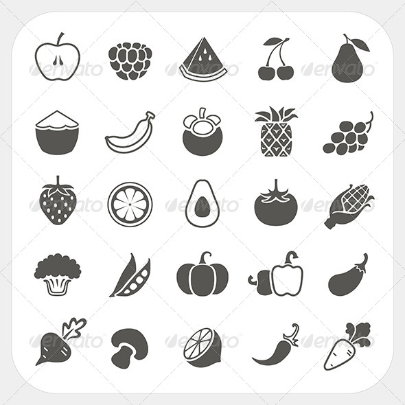 GraphicRiver Fruits and Vegetables Icons Set 6442672
