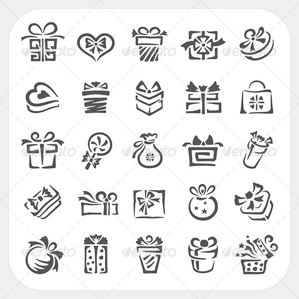 GraphicRiver Gift Box Icons Set 6442687