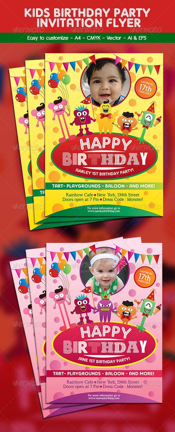 GraphicRiver Kids Birthday Party Invitation Flyer 6443334