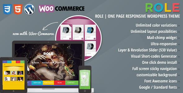 Role | One Page Responsive E-Commerce Theme - Creative WordPress