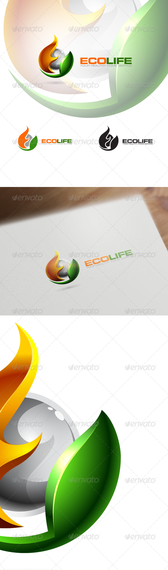 3D Eco Logo Nature Technology & Science