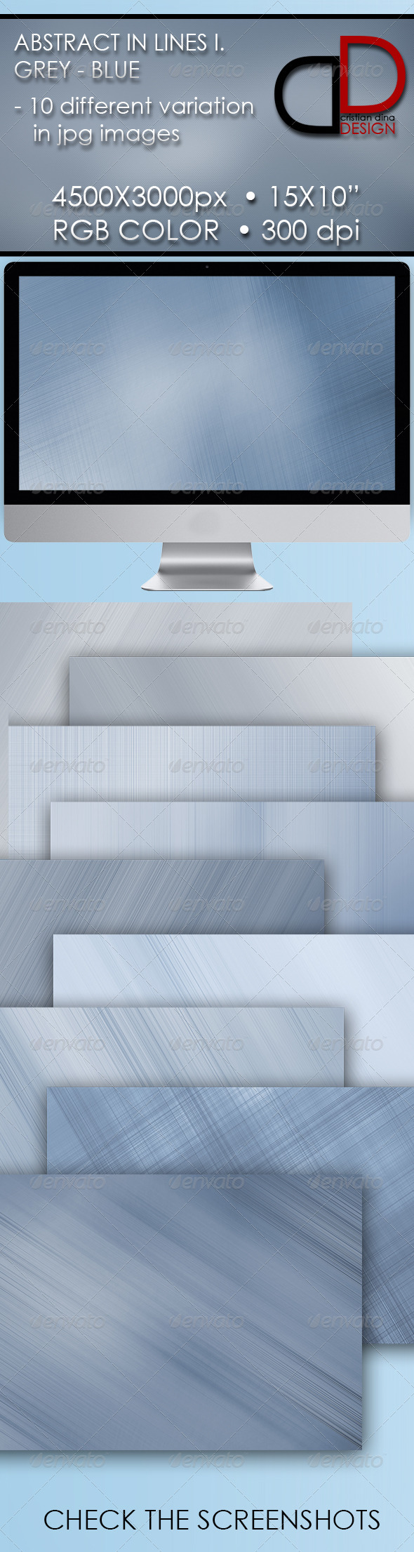GraphicRiver Abstract In Lines I Grey & Blue Pack 6432966