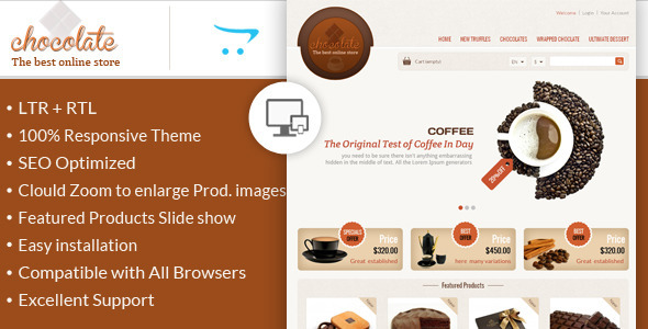 ThemeForest Chocolate OpenCart Responsive Theme 6444670