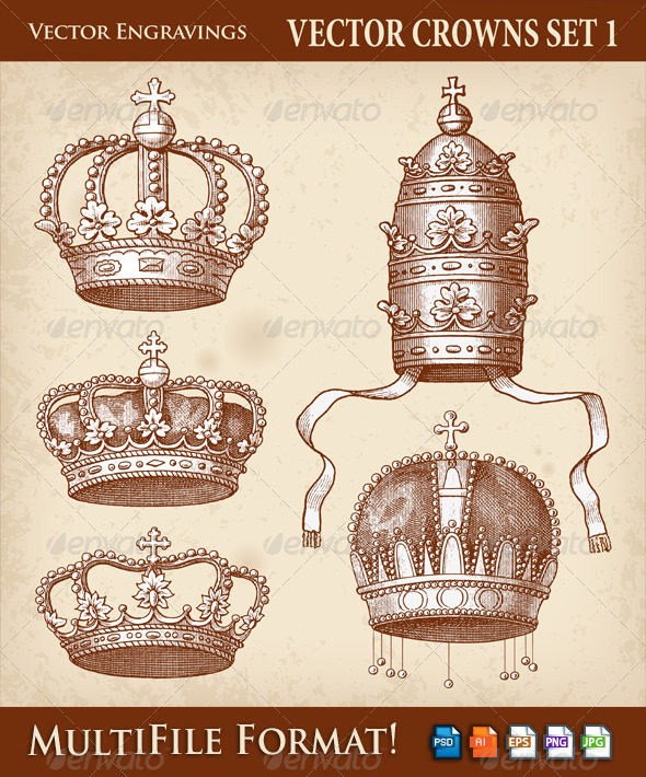 GraphicRiver Vector Antique Crown Illustrations 6445011