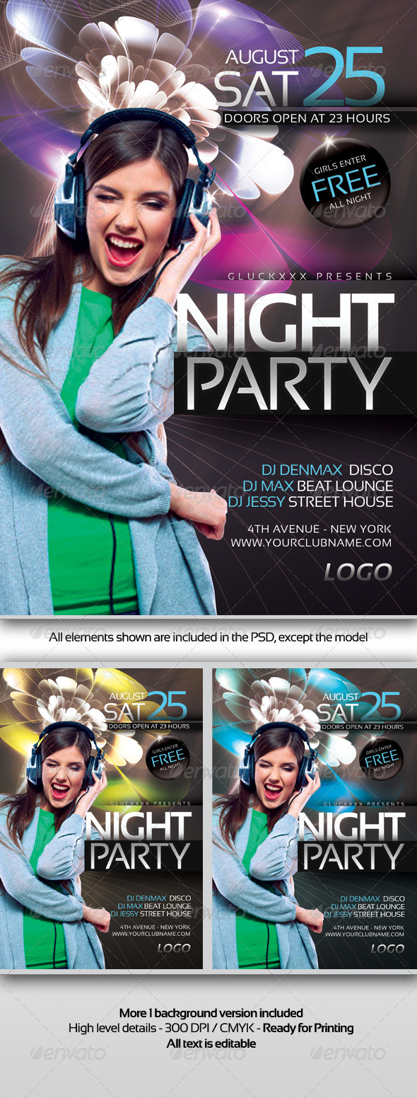 GraphicRiver Night Party Flyer Template 6445068