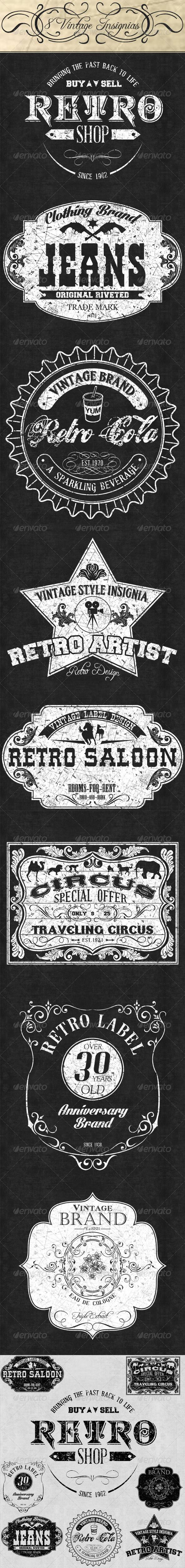 GraphicRiver 8 Retro Vintage Insignias Collection 6445102