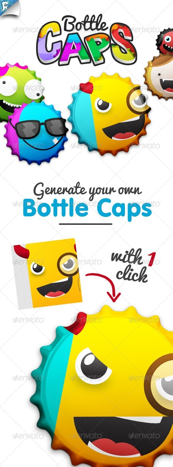 BottleCaps - Bottle Cap Generator - Cap It! - Food and Drink Packaging