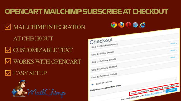 MailChimp Subscribe at Checkout for OpenCart