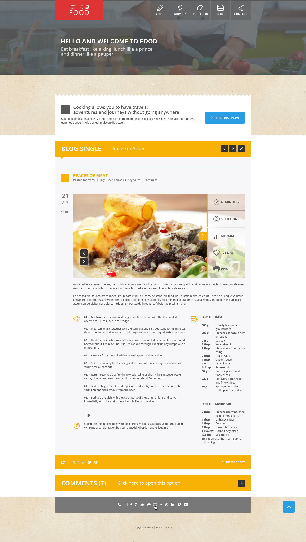 Food - Food & Restaurant PSD Single Page - Food - Food & Restaurant PSD Single Page.  Blog photo.