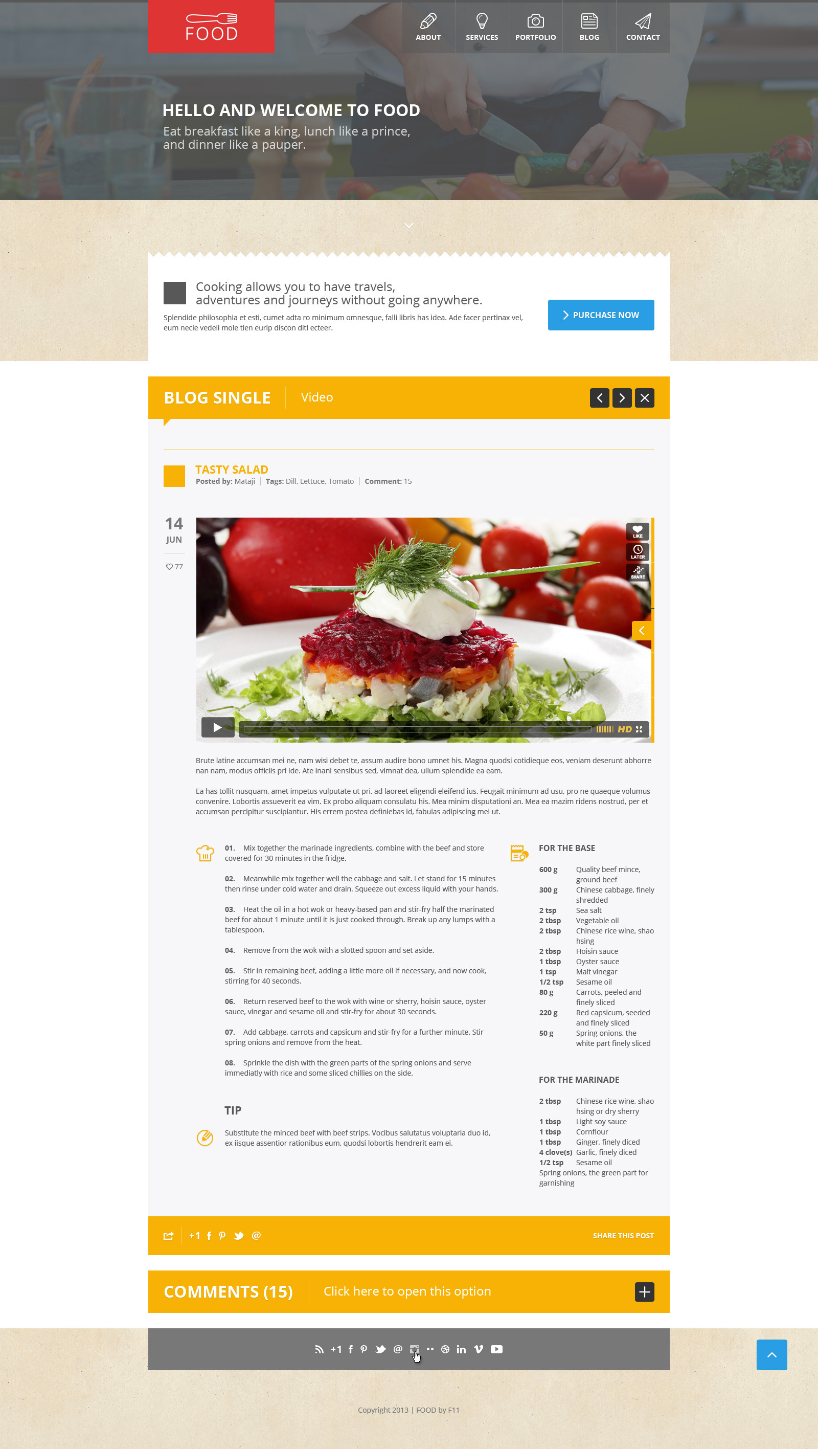 Food - Food & Restaurant PSD Single Page - Food - Food & Restaurant PSD Single Page.  Blog video.