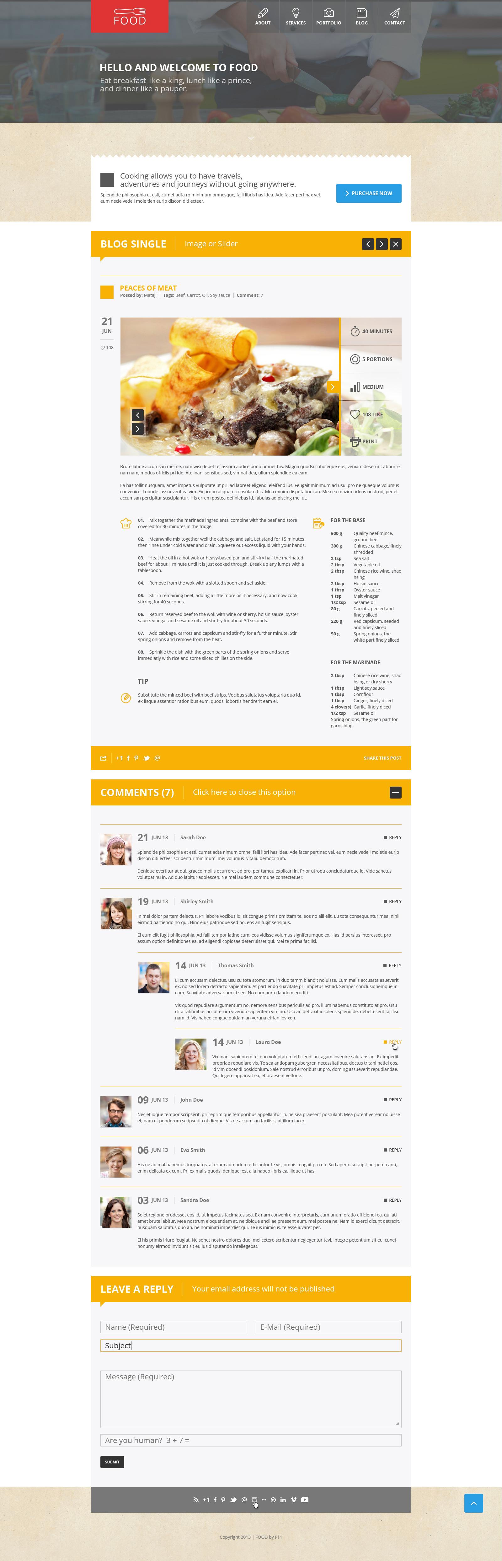 Food - Food & Restaurant PSD Single Page - Food - Food & Restaurant PSD Single Page.  Blog comment - open.