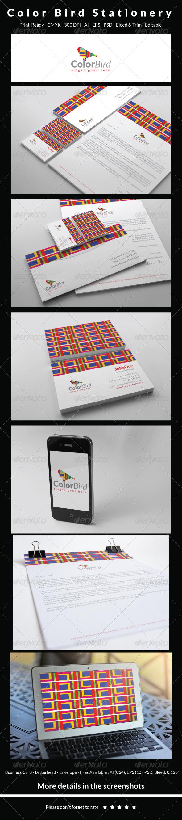 GraphicRiver Color Bird Stationery 6445686