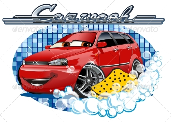 GraphicRiver Car Washing Sign with Sponge 6445955