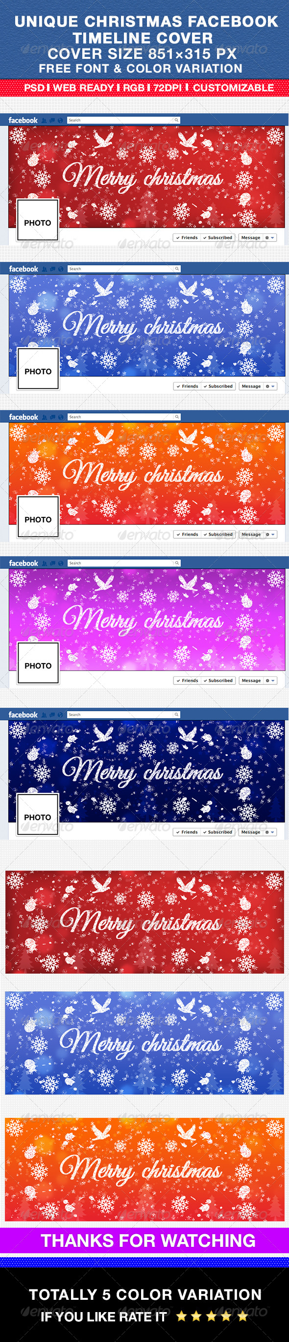 GraphicRiver Unique Christmas Facebook Timeline Cover 6445968
