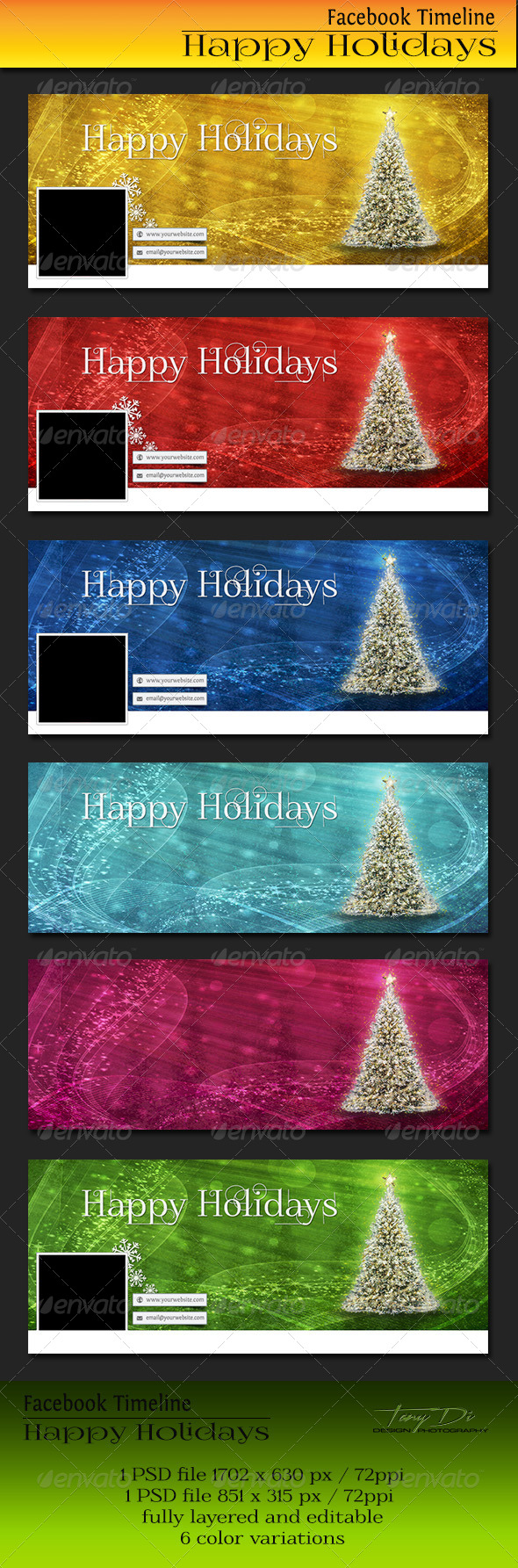 GraphicRiver Facebook Timeline Cover Happy Holidays 6445982