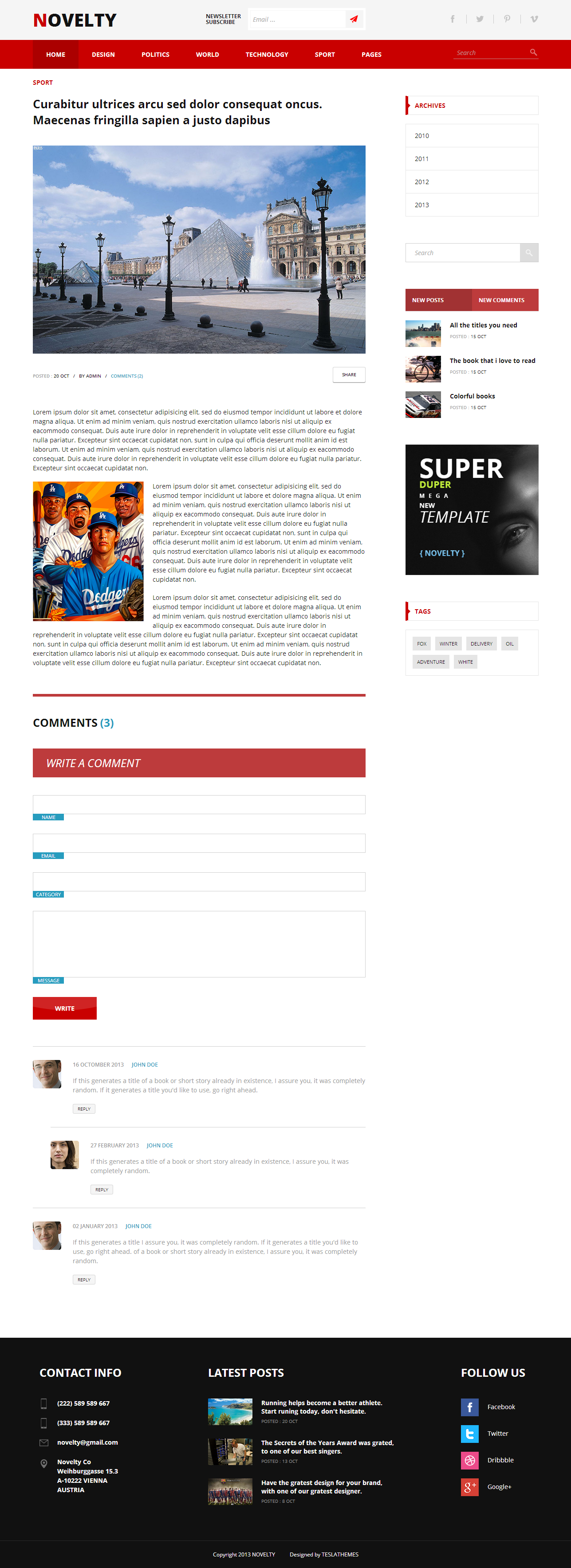 Novelty - Content Sharing HTML Theme