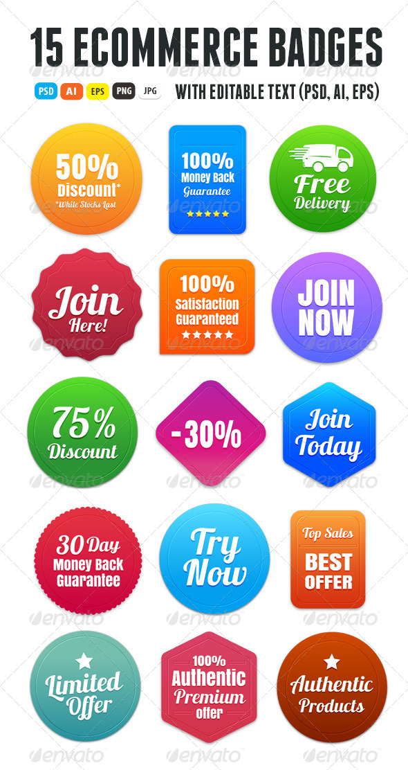 GraphicRiver 15 Colorful Ecommerce Badges 6446482