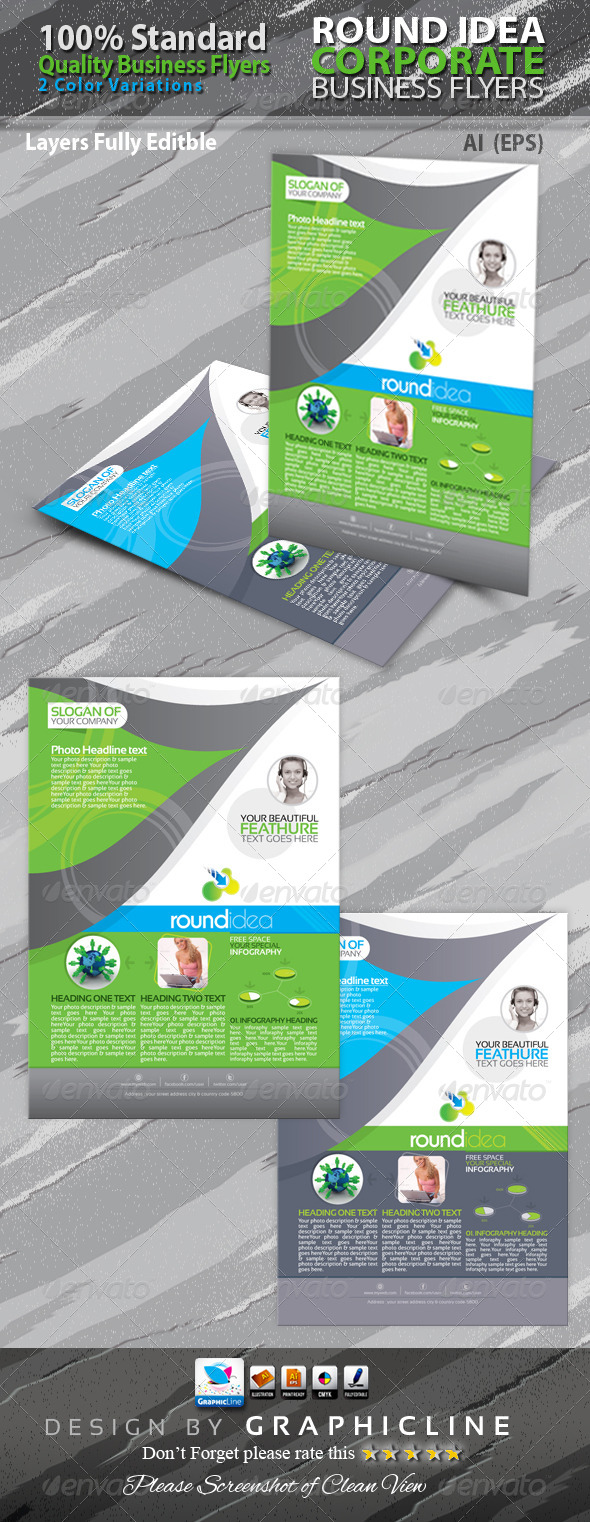 GraphicRiver Round Idea Corporate Business Flyers Adds 6446555