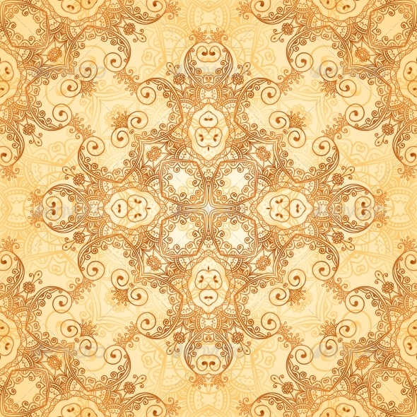 GraphicRiver Ornate Vintage Seamless Pattern in Mehndi Style 6446838