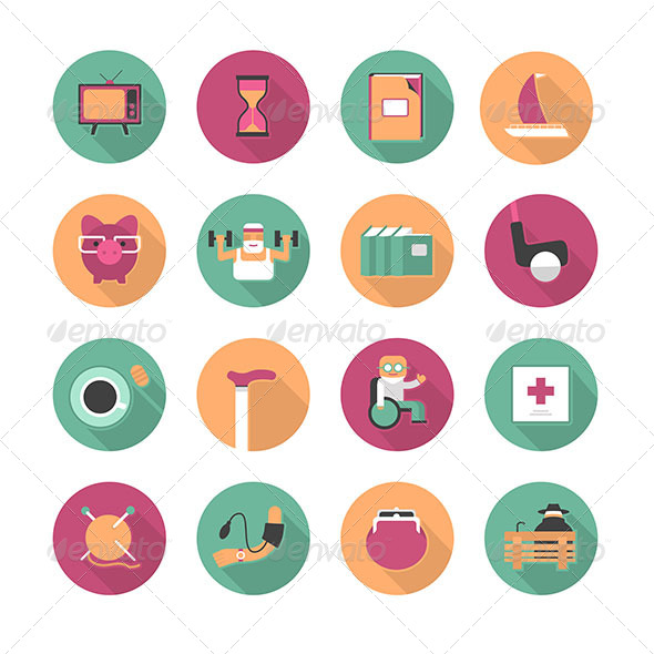 GraphicRiver Flat Icons Of Life After Retirement 6447118