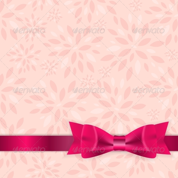 GraphicRiver Floral Background with Bow and Ribbon Vector 6447121