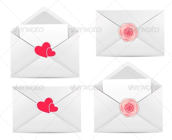 GraphicRiver Valentine`s Day Card with Envelope Heart and Rose 6447133
