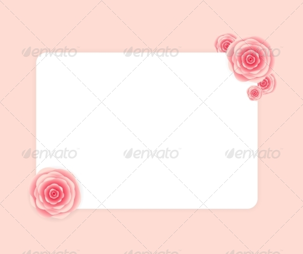 GraphicRiver Cute Frame with Rose Flowers Vector Illustration 6447185
