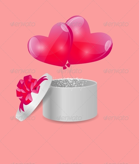 GraphicRiver Valentines Day Card with Gift Box and Heart Balloons 6447503