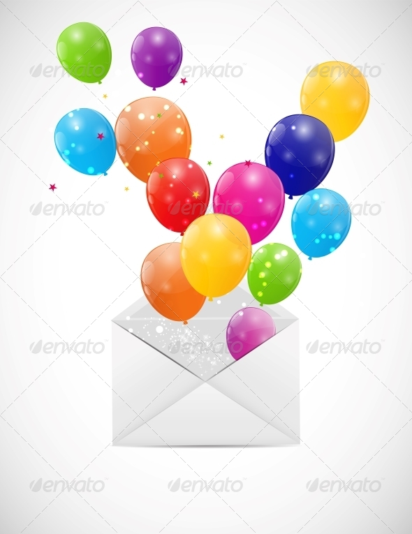 GraphicRiver Envelope with Balloons Vector Illustration 6447505