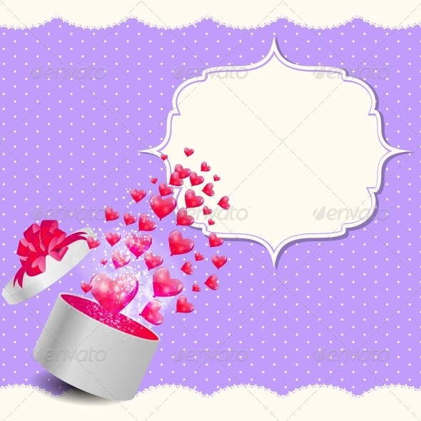 GraphicRiver Valentines Day Card with Gift Box and Heart Shaped 6447511