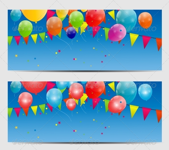 GraphicRiver Color Glossy Balloons Background Vector 6447513