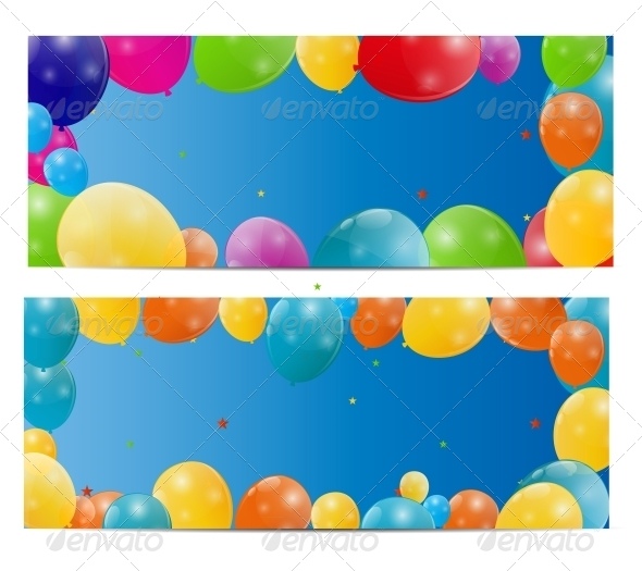 GraphicRiver Color Glossy Balloons Background Vector 6447515