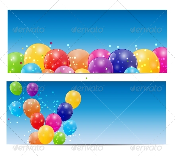 GraphicRiver Color Glossy Balloons Background Vector 6447518