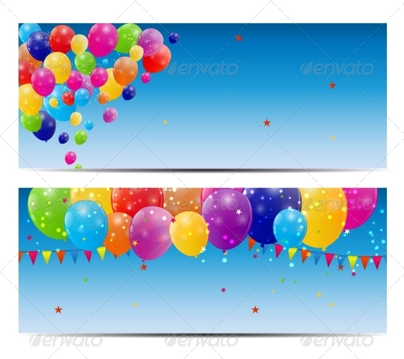GraphicRiver Color Glossy Balloons Background Vector 6447524